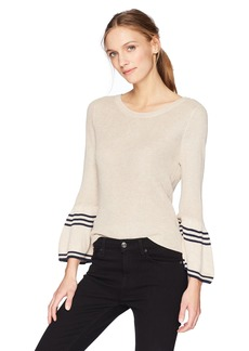 Olive & Oak Women's Justine Bell Sleeve Top Oatmeal/Navy