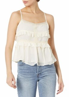 Olive & Oak Women's Spaghetti Strap Ruffle Detail Crop Top