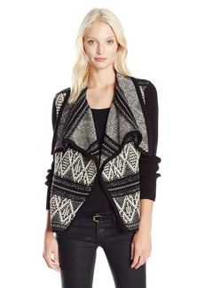 Olive & Oak Women's Textured Open Printed Sweater Cardigan