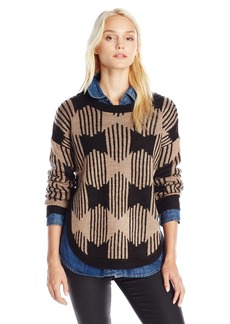 Olive & Oak Women's Zip Zag Printed Crew Neck Sweater