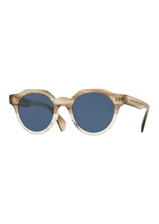 Oliver Peoples Men's Irven Faceted Round Acetate Sunglasses - Military VSB