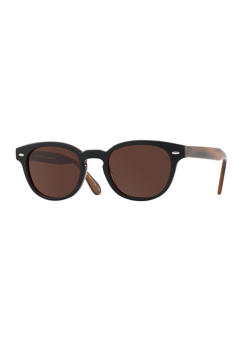 bedd2df7c81 Oliver Peoples pour Berluti Sheldrake Leather 49 Round Acetate Sunglasses