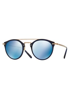 Oliver Peoples Remick Mirrored Brow-Bar Sunglasses  Blue