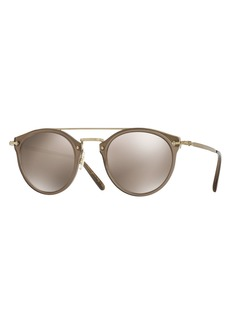 Oliver Peoples Remick Mirrored Brow-Bar Sunglasses  Taupe