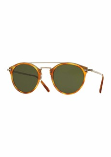Oliver Peoples Remick Monochromatic Brow-Bar Sunglasses
