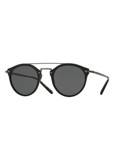 Oliver Peoples Remick Monochromatic Brow-Bar Sunglasses  Black