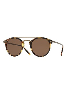 Oliver Peoples Remick Monochromatic Brow-Bar Sunglasses  Brown