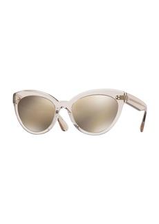 Oliver Peoples Roella Mirrored Translucent Plastic Cat-Eye Sunglasses