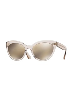 Oliver Peoples Roella Mirrored Translucent Plastic Cat-Eye Sunglasses