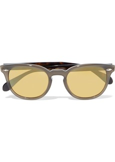 Oliver Peoples Woman Round-frame Acetate Mirrored Sunglasses Brown
