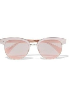 Oliver Peoples Woman Round-frame Silver-tone And Acetate Mirrored Sunglasses Rose Gold