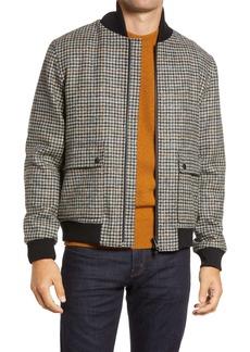Oliver Spencer Bermondsey Houndstooth Wool Bomber Jacket