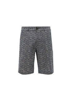 Oliver Spencer Judo fan-print organic-cotton shorts