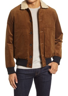Oliver Spencer Linfield Stretch Corduroy Bomber Jacket with Faux Shearling Collar