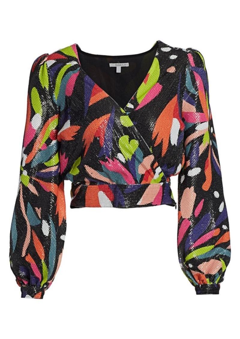 Olivia Rubin Kendall Sequin Puff-Sleeve Top