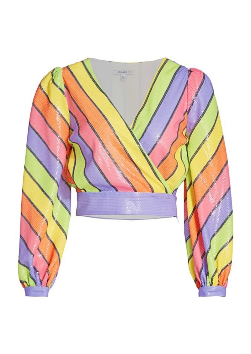 Olivia Rubin Kendall Striped Sequin Cropped Top