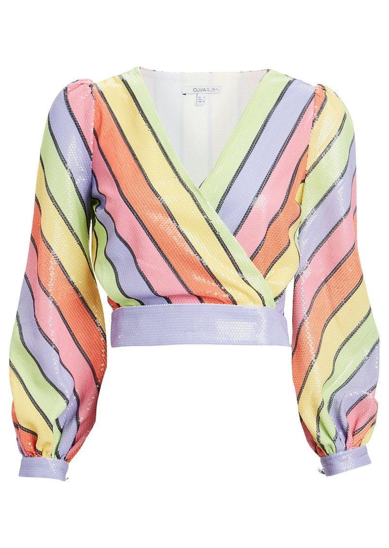 Olivia Rubin Kendall Striped Sequined Blouse