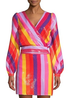 Olivia Rubin Kendall Wrap Front Rainbow Stripe Top