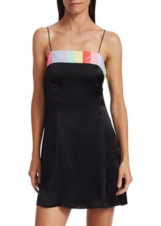Olivia Rubin Lettie Rainbow Sequin-Trim Bow Mini Silk Slip Dress