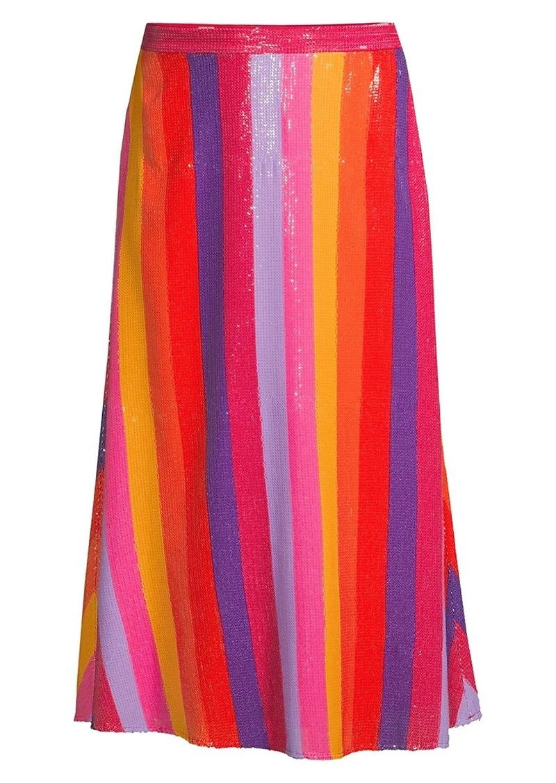 Penelope Rainbow Stripe Sequin Midi Skirt