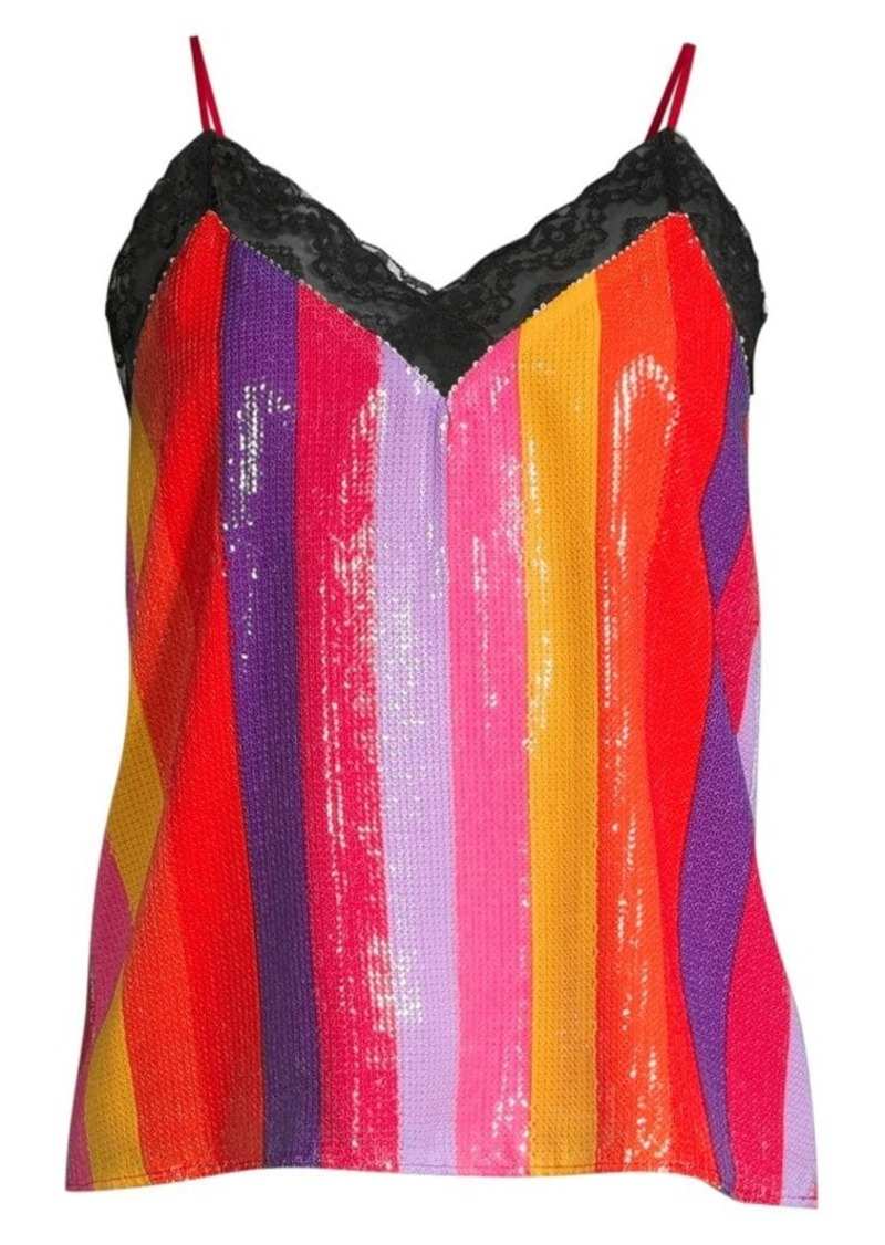 Olivia Rubin Rainbow Stripe Sequin Top
