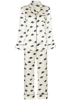 Olivia von Halle Lila eye print pyjama set