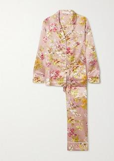 Olivia von Halle Lila Floral-print Silk Pajama Set
