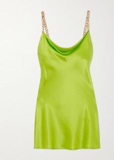 Olivia von Halle Minnie Chain-embellished Silk-satin Mini Dress