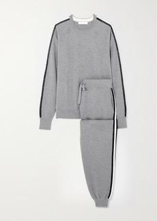 Olivia von Halle Missy London Striped Silk And Cashmere-blend Sweatshirt And Track Pants Set