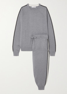 Olivia von Halle Missy London Striped Silk-blend Sweatshirt And Track Pants Set