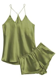 Olivia Von Halle Woman Bella Silk-satin Pajama Set Leaf Green