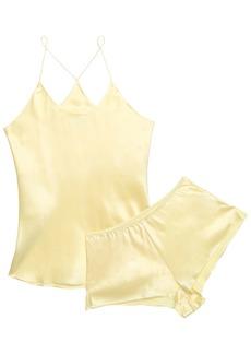 Olivia Von Halle Woman Bella Silk-satin Pajama Set Pastel Yellow