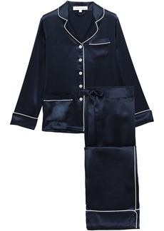 Olivia Von Halle Woman Coco Appliquéd Silk-charmeuse Pajama Set Midnight Blue