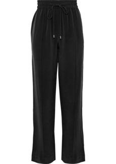 Olivia Von Halle Woman Gio Grosgrain-trimmed Washed-silk Track Pants Black