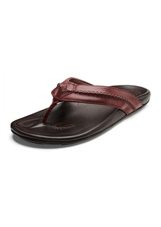 OluKai Men's Mea Ola Leather Thong Sandals  Brown/Red