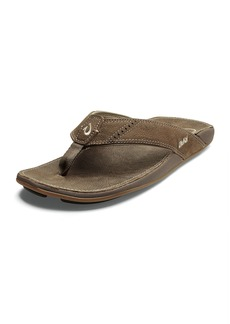 OluKai Men's Nui Leather Thong Sandals