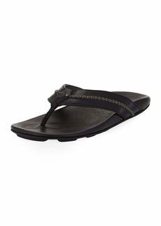 OluKai Men's Mea Ola Leather Thong Sandals