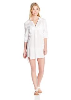 OndadeMar Women's Eden  Long Sleeve Tunic Dress Cover Up with Embroidery