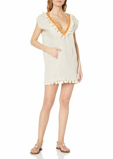 OndadeMar Women's Solid Embroidered Tunic  L