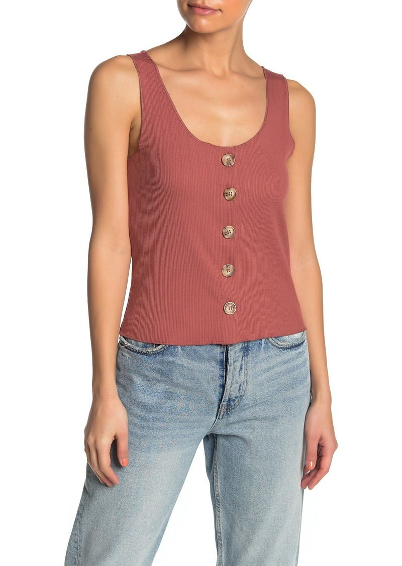O'Neill Hill Ribbed Knit Button-Down Tank