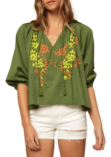 O'Neill Aven Embroidered Tie Neck Top