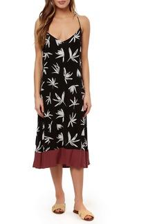 O'Neill Bennett Contrast Hem Floral Midi Dress