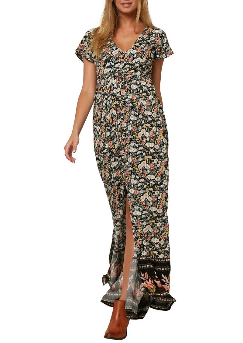 O'Neill Clarissa Border Print Tie Waist Maxi Dress