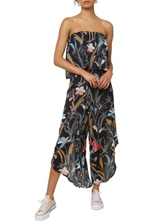 O'Neill Floral Print Strapless Crop Jumpsuit