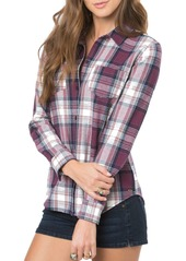 O'Neill 'Freestyle' Plaid Button Front Top