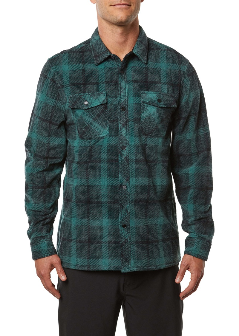 O'Neill Glacier Peak Standard Fit Plaid Snap-Up Fleece Shirt