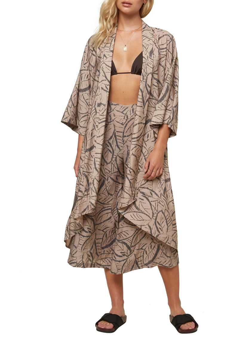 O'Neill Joceylnn Palm Print Woven Wrap Top