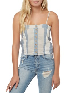 O'Neill Juliana Cotton & Linen Stripe Crop Tank Top