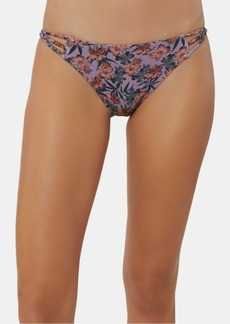 O'Neill Juniors' Floral Horizon Printed Strappy Bikini Bottoms Women's Swimsuit