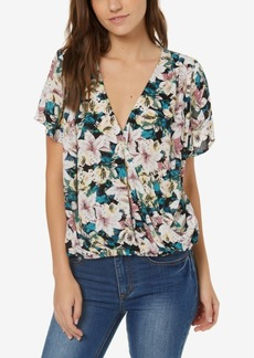 O'Neill Juniors' Floral-Print Faux-Wrap Top